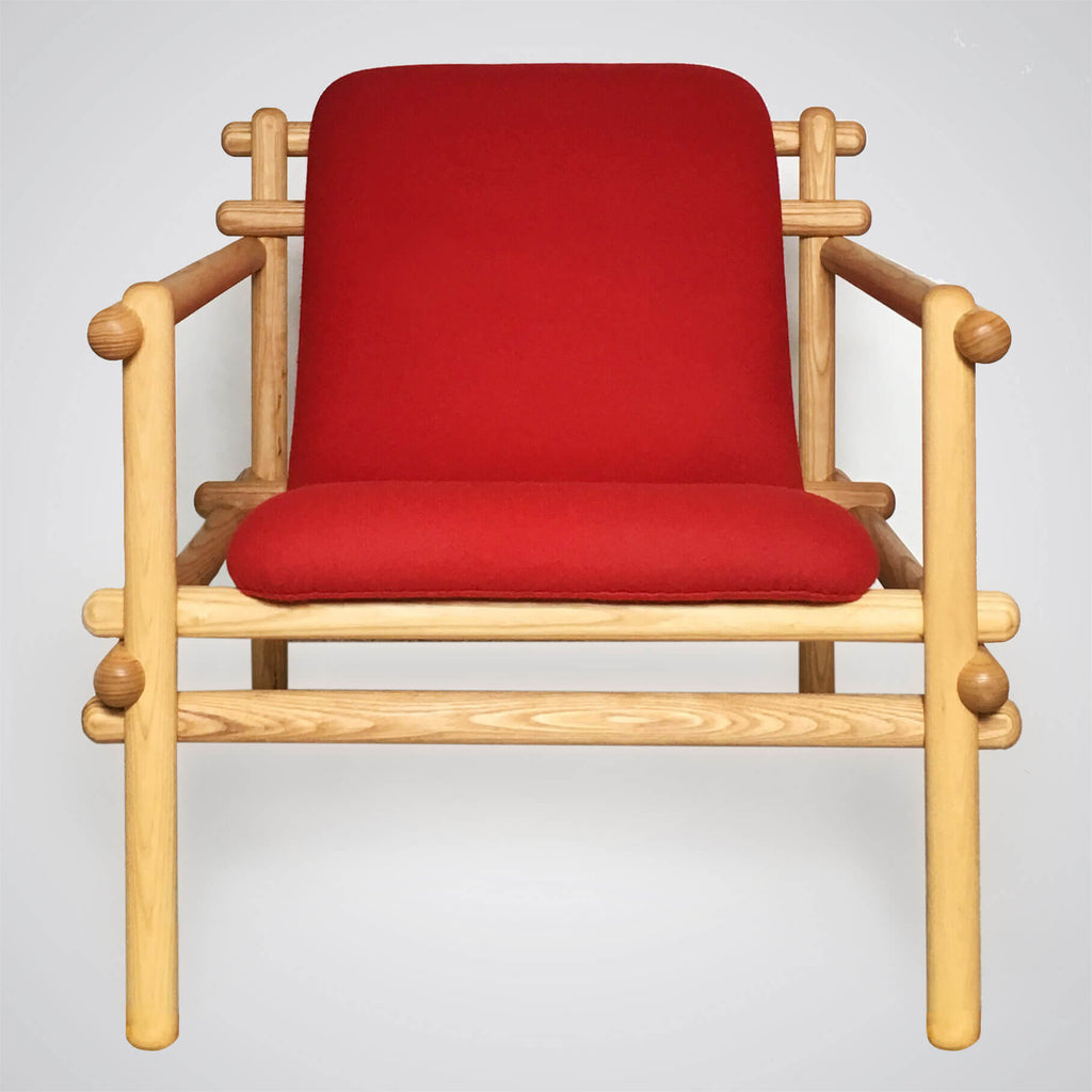 Twig Lounge in Red Wool and Ash Wood