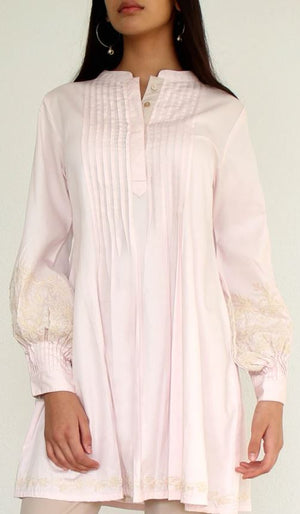 Anan Embroidered Cotton Modest Buttondown Tunic - Blush