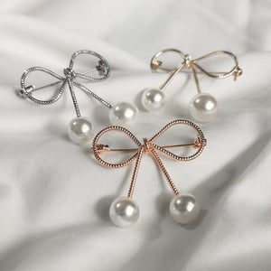 Bow & Pearl Brooch