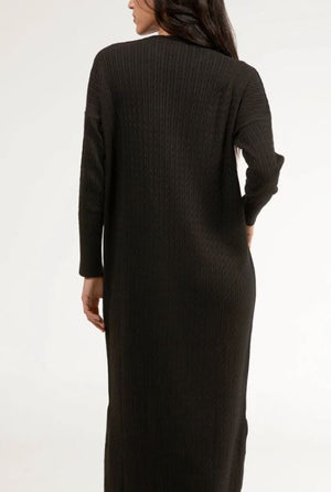 Nawal Fine Cable Knit Long Midi Dress - Black - One Size