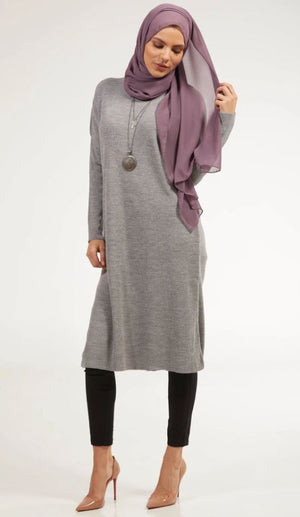 Elan Rib Knit Loose Modest Midi Tunic - Heather Gray - One Size
