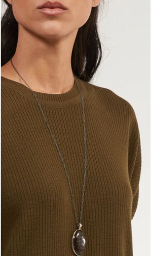 Elan Rib Knit Loose Modest Midi Tunic - Olive - One Size