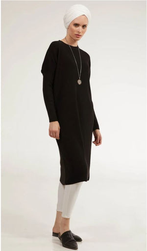 Elan Rib Knit Loose Modest Midi Tunic - Black - One Size