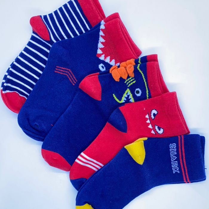 Kids Socks D95 - Blue Red Shark