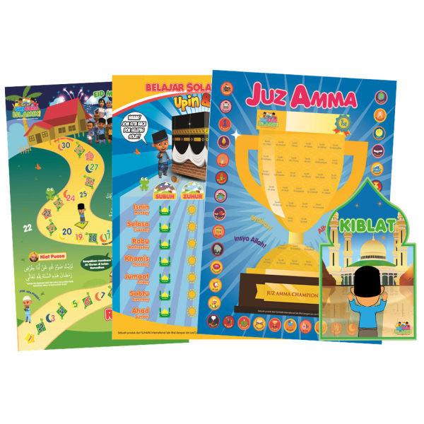 Chart Combo: Juz Amma Sticker Chart, Prayer and Fasting Tracking Chart and a Kiblat Arrow