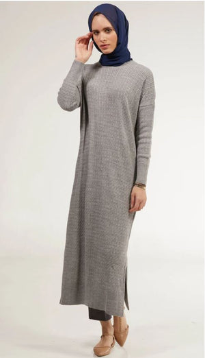 Nawal Fine Cable Knit Long Midi Dress - Heather Gray - One Size