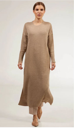 Nawal Fine Cable Knit Long Midi Dress - Taupe - One Size