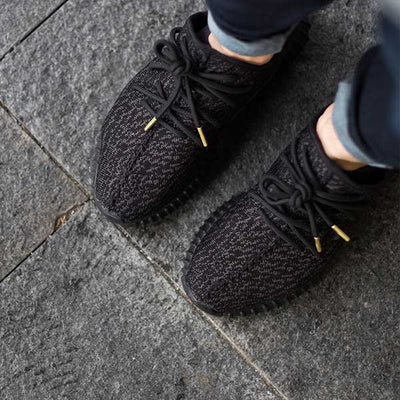 Black Rope Lace - Gold Metal Aglet