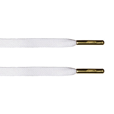 White Waxed Flat Lace - Gold Metal Aglet - LaceSpace