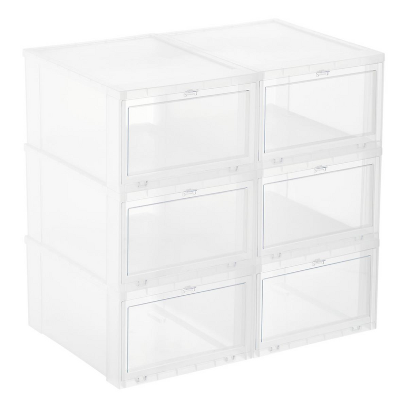 Shoe Storage Boxes (Large, Clear) - Set of 6 - LaceSpace
