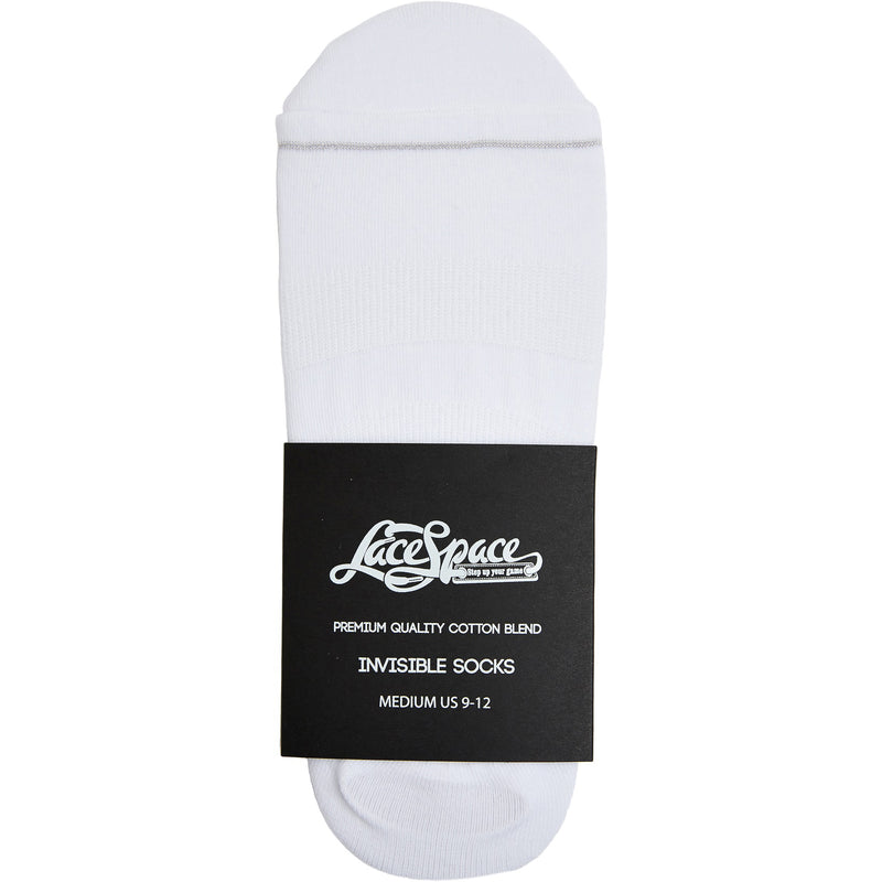 WHITE - Premium Cotton Blend Invisible Socks - LaceSpace