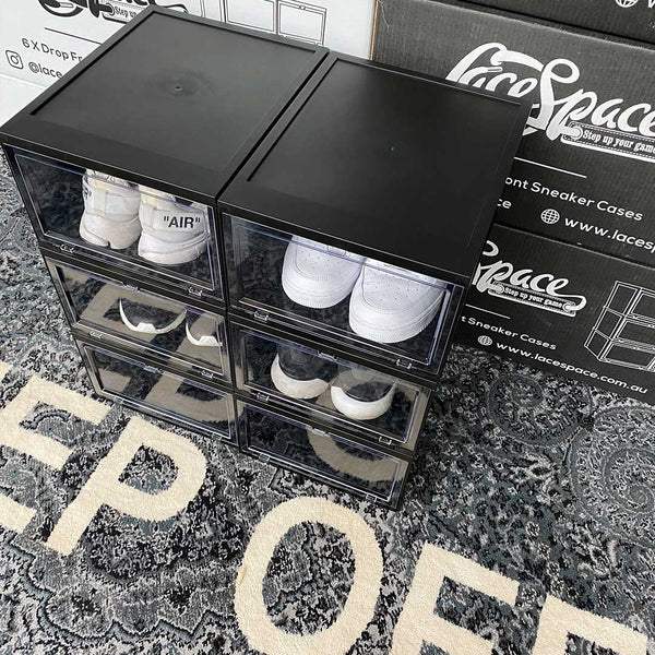 Boxing Day Sale // Drop Front Sneaker Display Cases | Black - Pack of 6 Cases - LaceSpace