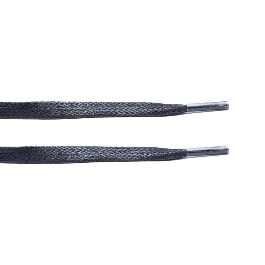 Black Waxed Flat Lace - Clear Plastic Aglet