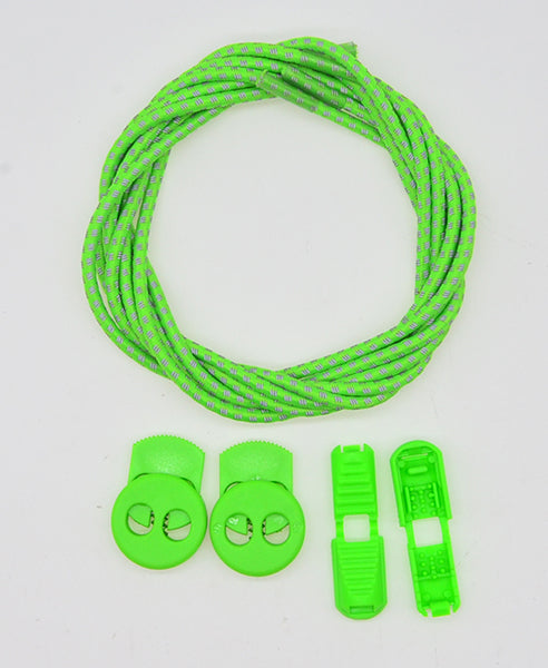 Elastic Lock Laces - Green/3M Reflective - Performance Range - LaceSpace