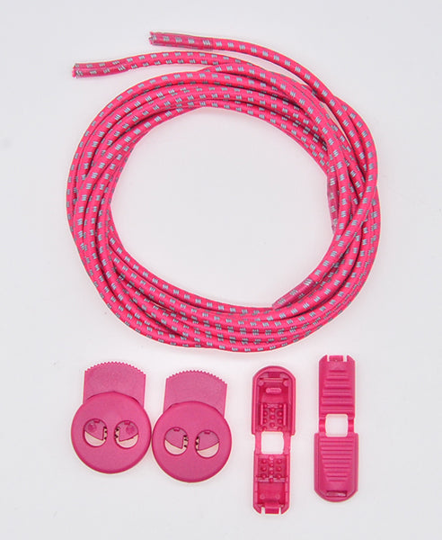 Elastic Lock Laces - Pink/3M Reflective - Performance Range - LaceSpace