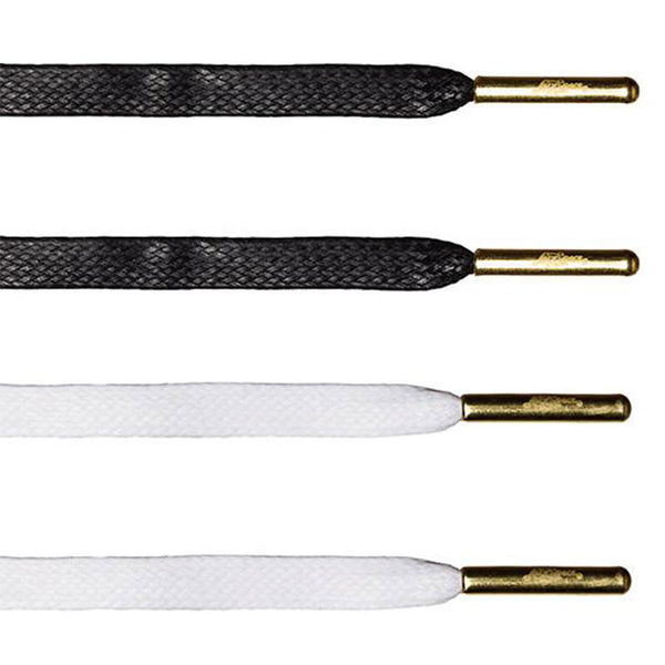 Flat Waxed Value Pack - White & Black | Gold Aglets - LaceSpace