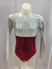 Long Sleeve Two Tone Gym Leotard - Silver Shattered / Burgundy