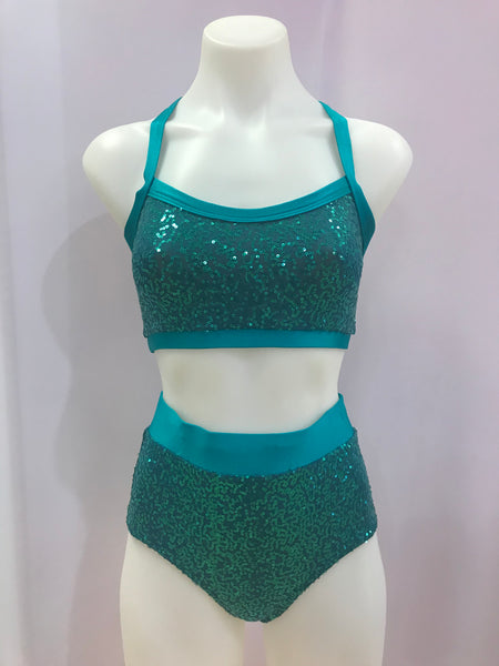 Sequin Wide Strap Basic Crop with Sequin High Waisted Knicker