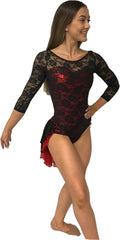 Lace 3/4 Sleeve Leotard with Skirt