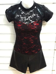 Short sleeve Lace Unitard