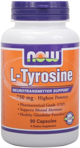 NOW Foods L-Tyrosine 750 mg, 90 Capsules