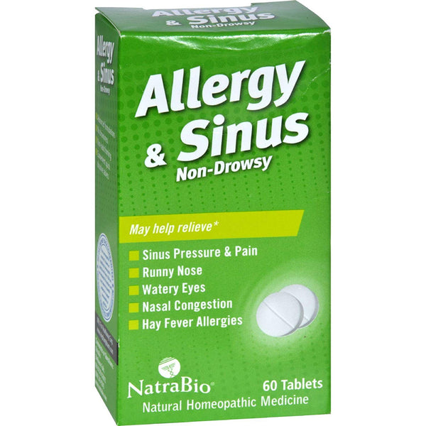 NatraBio, Allergy & Sinus, Non-Drowsy, 60 Tablets Exp: 05/2021