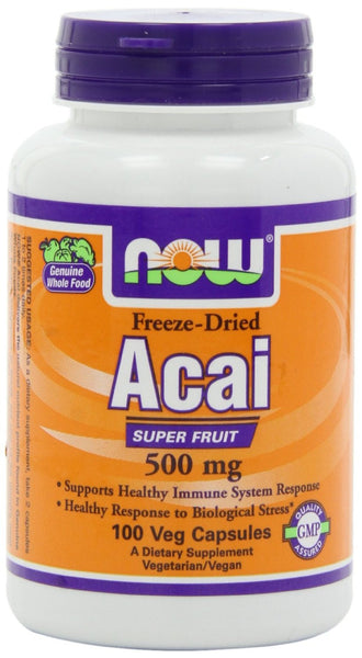 NOW Foods Freeze-Dried Acai 500 mg, 100 Veg-Caps