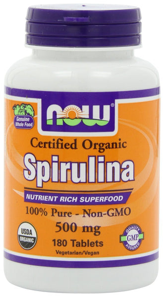 NOW Foods Certified Organic Spirulina 500 mg, 180 Tablets