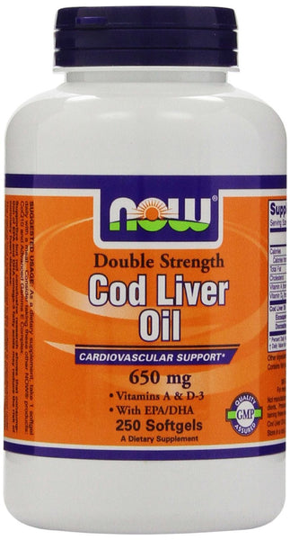 NOW Foods Cod Liver Oil 2x 2500/750 A/D 650 mg, 250 Softgels