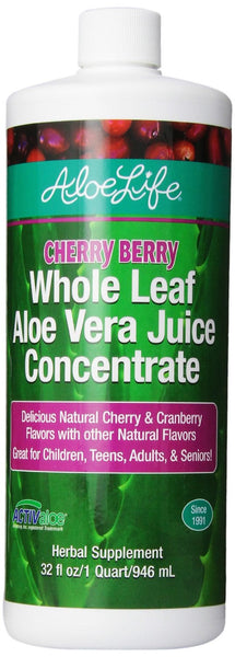 Aloe Life Whole Leaf Aloe Vera Juice Concentrate, Cherry Berry, 32 fl oz