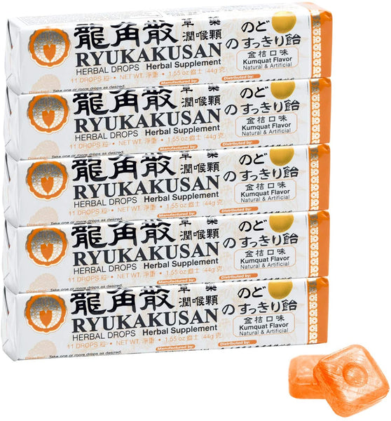 Ryukakusan Kumquat Herbal Drops (10 drops, Net wt 1.65 0z (47g))