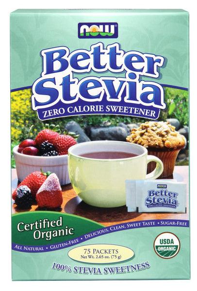 NOW Foods Better Stevia Zero Calorie Sweetener, 75 Packets