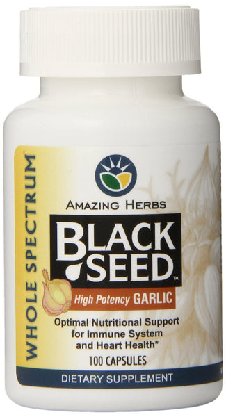 Amazing Herbs Black Seed with High Potency Garlic Capsules, 100 Count