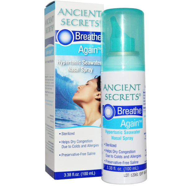 Ancient Secrets - Breathe Again Hypertonic Seawater Nasal Spray 3.38 oz