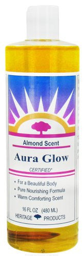 Heritage Store Aura Glow Massage Oil, Almond, 16 Ounce