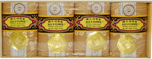 Bee & Flower Sandalwood Soap 4.4oz, 4 Pack/case