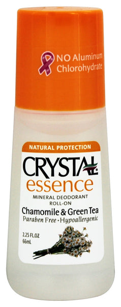 Crystal Crystal Essence Mineral Deodorant Roll-On Chamomile and Green Tea -- 2.25 fl oz