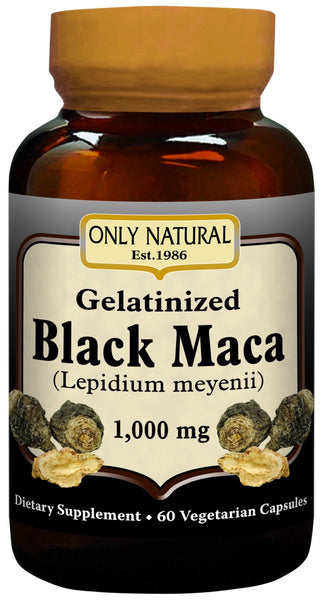 Only Natural Gelatinized Black Maca 1000 mg 60 Vegetarian Capsules