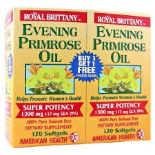 Evening Primrose Oil 1300mg Royal Brittany Twin Pack American Health Products 12