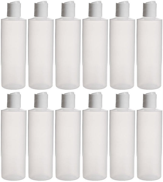 Earth's Essentials Twelve Pack Of Refillable 8 Oz. Squeeze Bottles With One Hand Press Cap Dispenser Tops.