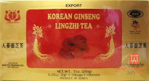 Korean Ginseng Lingzhi Tea (0.07oz * 10bags*10boxes)