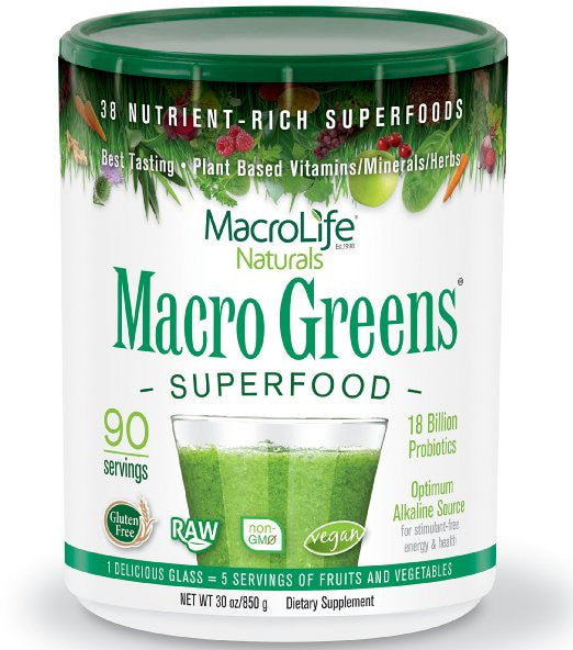 Macro Greens Superfood 18 Billion Non-Dairy Probiotic Cultures Raw Green Superfoods