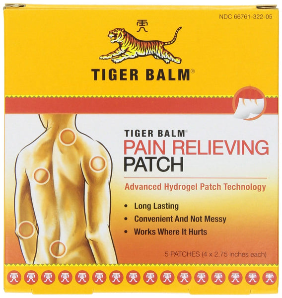 "Tiger Balm Patch, Pain Relieving Patch, 4""x2.75"", 5-Count Packages"
