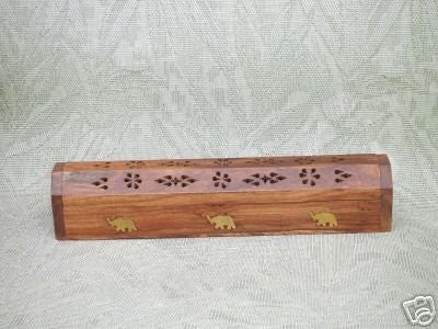Wooden Coffin Incense Burner Storage Compartment