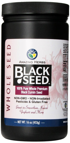 Amazing Herbs Black Seed Whole Seed Jar, 16 Ounce