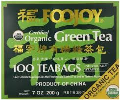 Foojoy Certified Organic Green Tea 100 Tea Bags 7 oz.