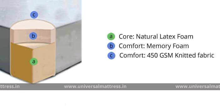 Pioneer Cloud Nine - 7 inches - mattress - india - cross section
