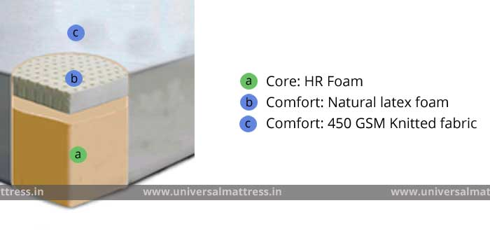 Pioneer Latex Bliss - 6 inches - mattress - india - cross section