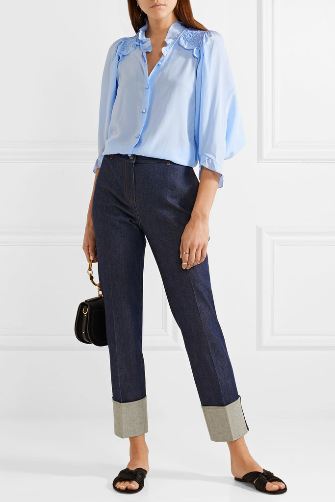 Baby blue casual blouse