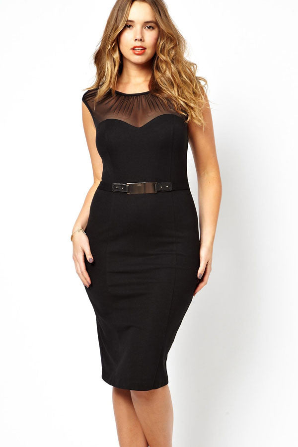 mgc curve belted dress with ruched mesh